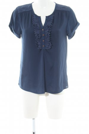 Maison Scotch Kurzarm-Bluse blau Business-Look