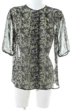 Maison Scotch Kurzarm-Bluse schwarz-grün abstraktes Muster Casual-Look