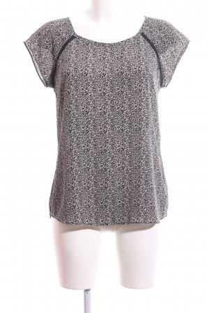 Maison Scotch Kurzarm-Bluse wollweiß-braun abstraktes Muster Business-Look