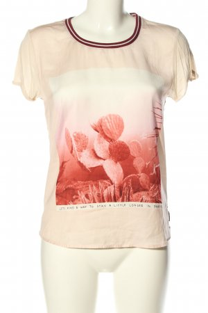 Maison Scotch Kurzarm-Bluse creme-rot Motivdruck Casual-Look