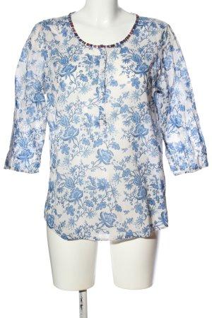 Maison Scotch Langarm-Bluse weiß-blau Allover-Druck Casual-Look