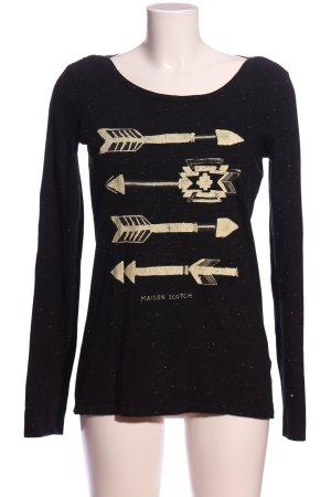 Maison Scotch Langarm-Bluse schwarz-creme Motivdruck Casual-Look