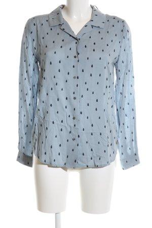 Maison Scotch Langarm-Bluse blau-schwarz Allover-Druck Business-Look