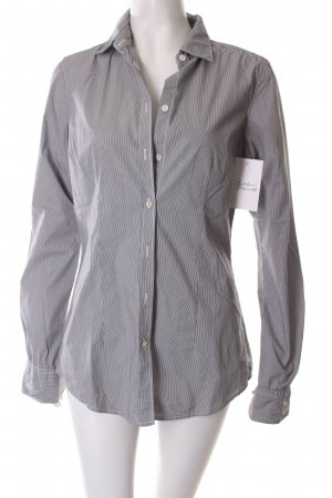 Maison Scotch Langarm-Bluse dunkelgrau-weiß Streifenmuster Business-Look