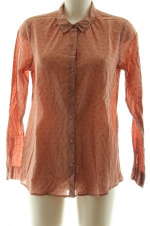 Maison Scotch Langarm-Bluse hellorange-schwarz Allover-Druck Business-Look