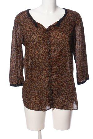 Maison Scotch Langarm-Bluse creme-braun Animalmuster Casual-Look