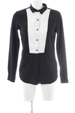 Maison Scotch Langarm-Bluse schwarz-weiß Casual-Look