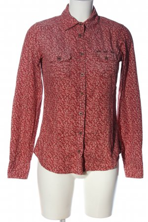 Maison Scotch Langarmhemd rot Allover-Druck Business-Look
