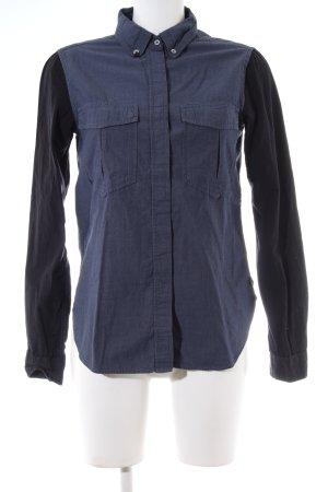 Maison Scotch Langarmhemd blau-schwarz meliert Casual-Look