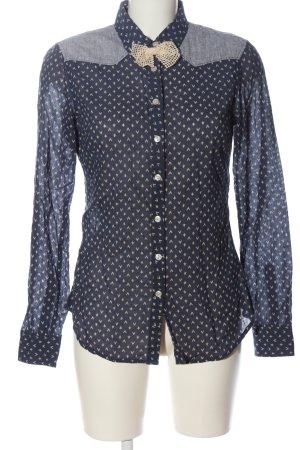 Maison Scotch Langarmhemd blau-wollweiß Allover-Druck Casual-Look