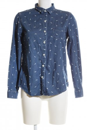 Maison Scotch Langarmhemd blau-weiß Allover-Druck Casual-Look