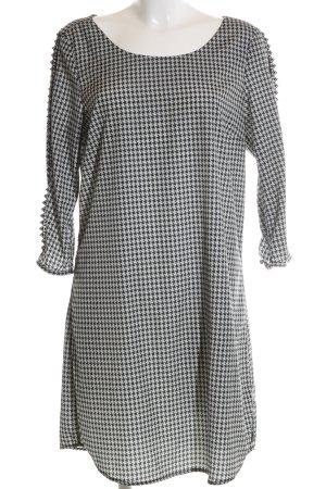 Maison Scotch Langarmkleid schwarz-weiß grafisches Muster Elegant