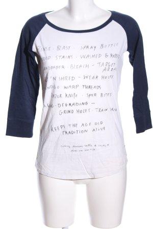 Maison Scotch Longshirt weiß-blau Schriftzug gedruckt Casual-Look