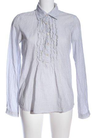 Maison Scotch Langarm-Bluse blau-weiß Allover-Druck Business-Look