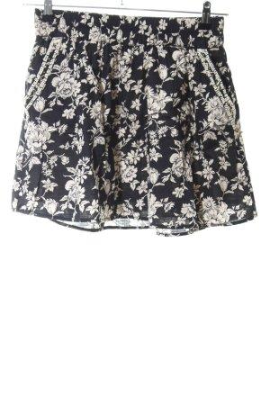 Maison Scotch Minirock schwarz-wollweiß Blumenmuster Casual-Look