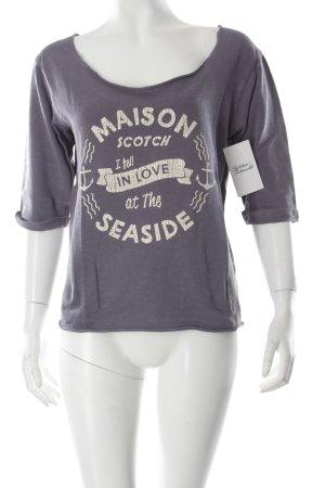 Maison Scotch Oversized Shirt stahlblau-weiß Schriftzug gedruckt Casual-Look