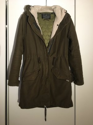 Maison Scotch Manteau à capuche kaki-gris vert coton