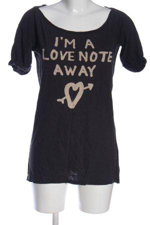 Maison Scotch Print-Shirt schwarz-creme Schriftzug gedruckt Casual-Look