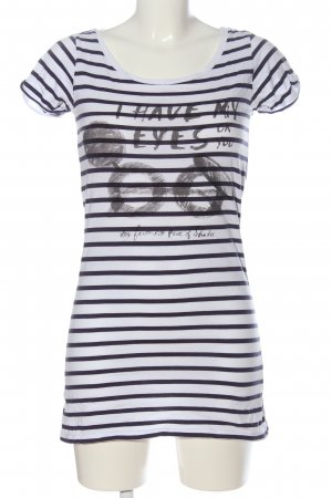 Maison Scotch Ringelshirt weiß-schwarz Motivdruck Casual-Look