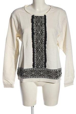 Maison Scotch Rundhalspullover weiß-schwarz Casual-Look