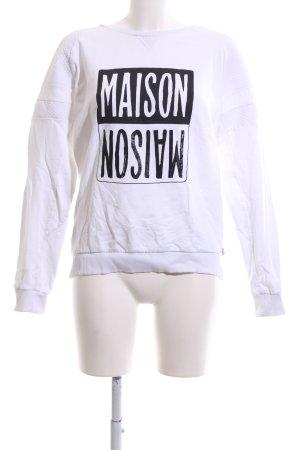 Maison Scotch Rundhalspullover weiß-schwarz Schriftzug gedruckt Casual-Look