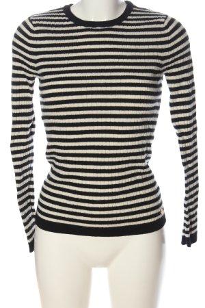 Maison Scotch Rundhalspullover schwarz-weiß Streifenmuster Casual-Look