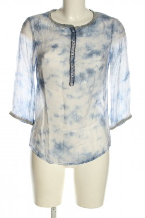 Maison Scotch Schlupf-Bluse weiß-blau Casual-Look