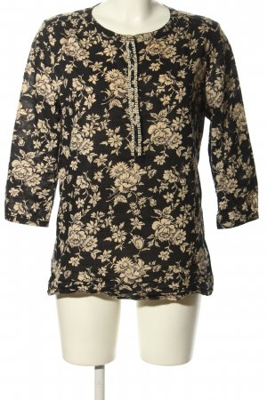 Maison Scotch Schlupf-Bluse schwarz-creme Blumenmuster Casual-Look