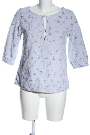 Maison Scotch Schlupf-Bluse weiß-blau Allover-Druck Casual-Look