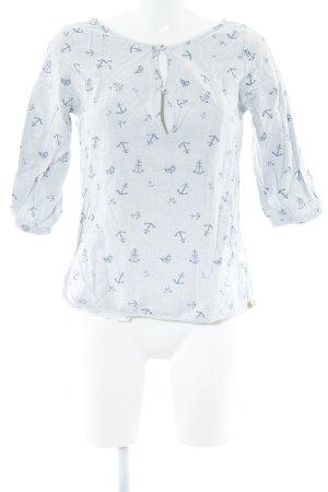 Maison Scotch Schlupf-Bluse himmelblau-hellgrau abstrakter Druck Casual-Look