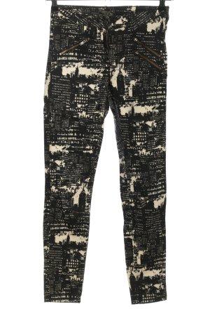 Maison Scotch Skinny Jeans schwarz-wollweiß abstraktes Muster Casual-Look