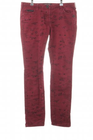 Maison Scotch Skinny Jeans rot-schwarz Allover-Druck Casual-Look