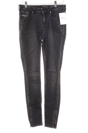 Maison Scotch Skinny Jeans schwarz Used-Optik