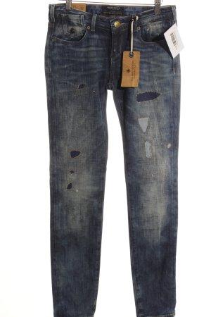 Maison Scotch Skinny Jeans wollweiß-stahlblau meliert Biker-Look