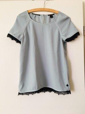 Maison Scotch Sommer Shirt Bluse graublaue Spitzen