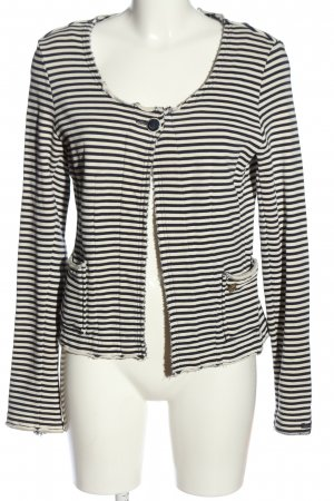 Maison Scotch Knitted Blazer black-white striped pattern casual look