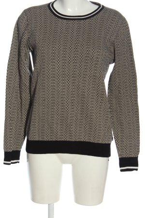 Maison Scotch Pull tricoté noir-blanc cassé imprimé allover