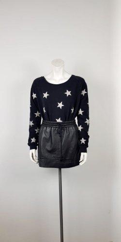 Maison Scotch Sweater Gr. S/M Sterne schwarz Sweatshirt weiter Ausschnitt Pulli Sternprint