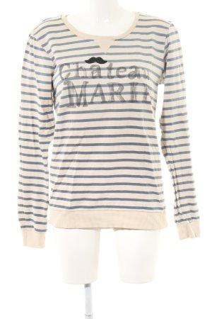 Maison Scotch Sweatshirt wollweiß-blau Schriftzug gedruckt Casual-Look