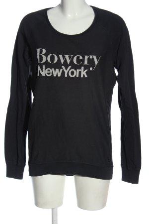Maison Scotch Sweatshirt schwarz-hellgrau Schriftzug gedruckt Casual-Look