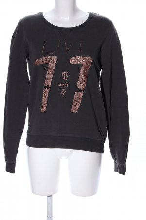 Maison Scotch Sweatshirt schwarz-bronzefarben Schriftzug gedruckt Casual-Look