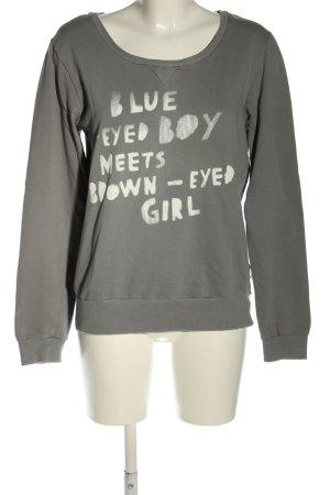 Maison Scotch Sweatshirt hellgrau-weiß Schriftzug gedruckt Casual-Look
