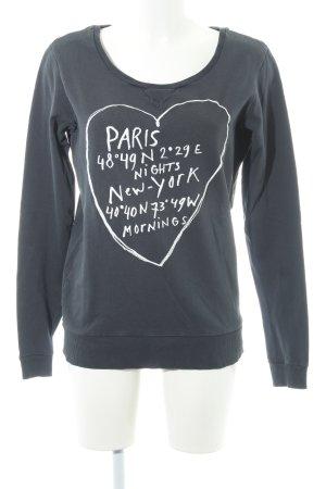 Maison Scotch Sweatshirt anthrazit-weiß Schriftzug gestickt Casual-Look