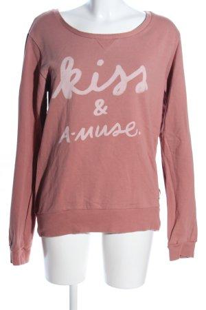 Maison Scotch Sweatshirt pink-wollweiß Schriftzug gedruckt Casual-Look