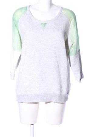Maison Scotch Sweatshirt hellgrau-grün meliert Casual-Look