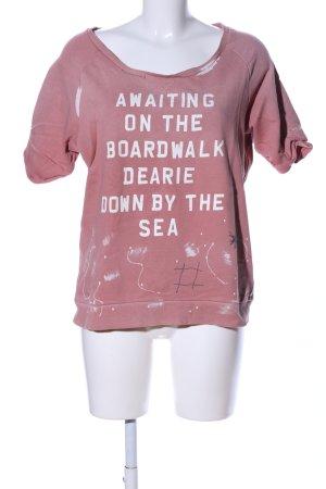 Maison Scotch Sweatshirt nude Schriftzug gedruckt Casual-Look