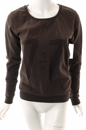 Maison Scotch Sweatshirt graubraun Motivdruck Casual-Look