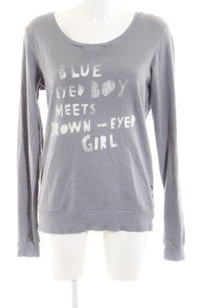 Maison Scotch Sweatshirt hellgrau Schriftzug gedruckt Casual-Look