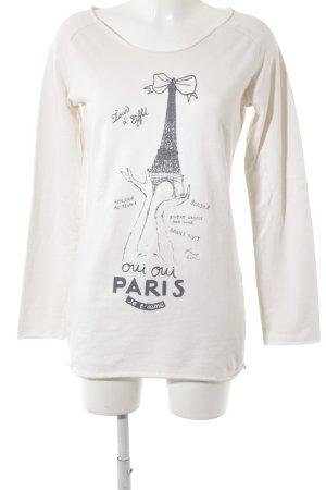 Maison Scotch Sweatshirt wollweiß-grau Motivdruck Casual-Look