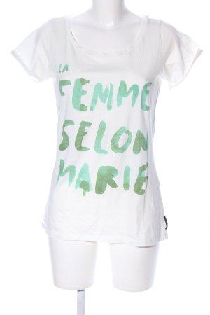 Maison Scotch T-Shirt weiß-grün Schriftzug gedruckt Casual-Look